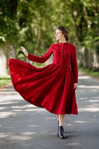 Elisa Dress, Long sleeves,  Red Poppy