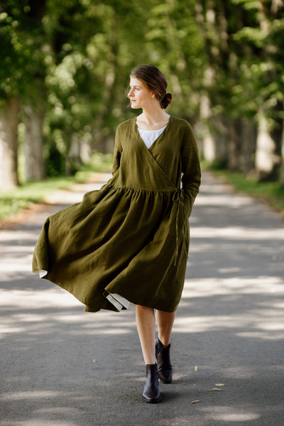 Wrap Dress, Long sleeves, Rosemary Green