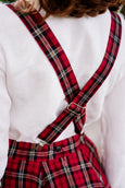 Linen Suspenders with Adjustable Clip-End, Red Tartan