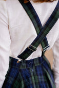 Linen Suspenders with Adjustable Clip-End, Blue Tartan