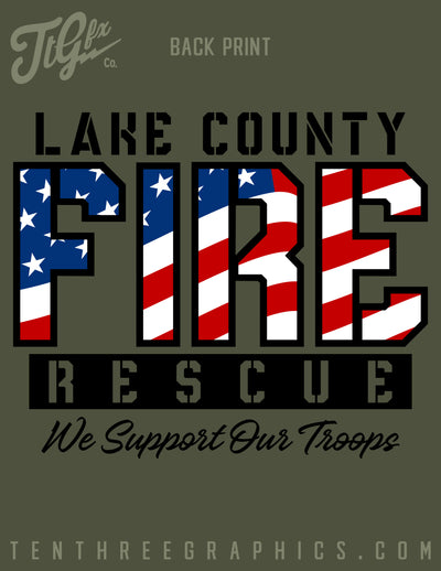 Lake County FF (FL) L3990 Support Our Troops Long Sleeve