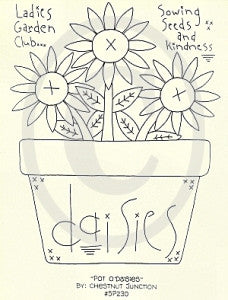 Pot Of Daisies Embroidery ePattern