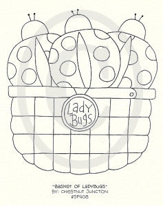 Basket Of Ladybugs Embroidery ePattern