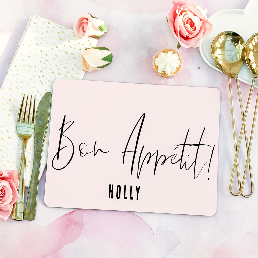"Personalised modern calligraphy Placemat ""Bon Appétit "" - Lily Summery"