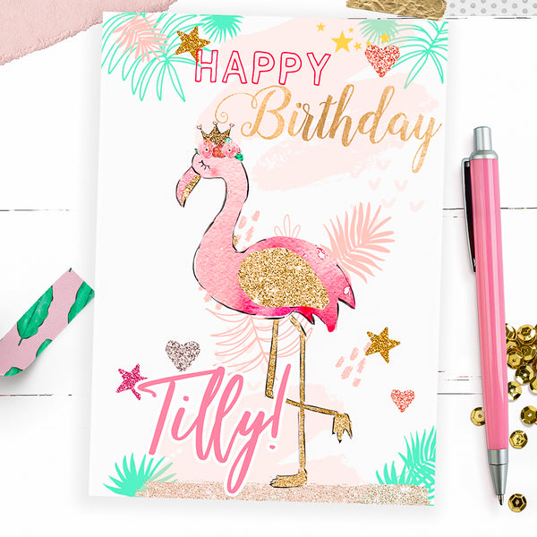 Personalised Flamingo birthday card - Lily Summery