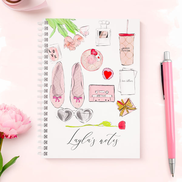 "Personalised wirebound  fashion notebook  ""Flat lay love "" - Lily Summery"