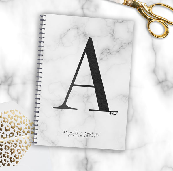 Personalised Monogram Marble Notebook- AS SEEN AT STYLIST MAGAZINE LIVE - Lily Summery