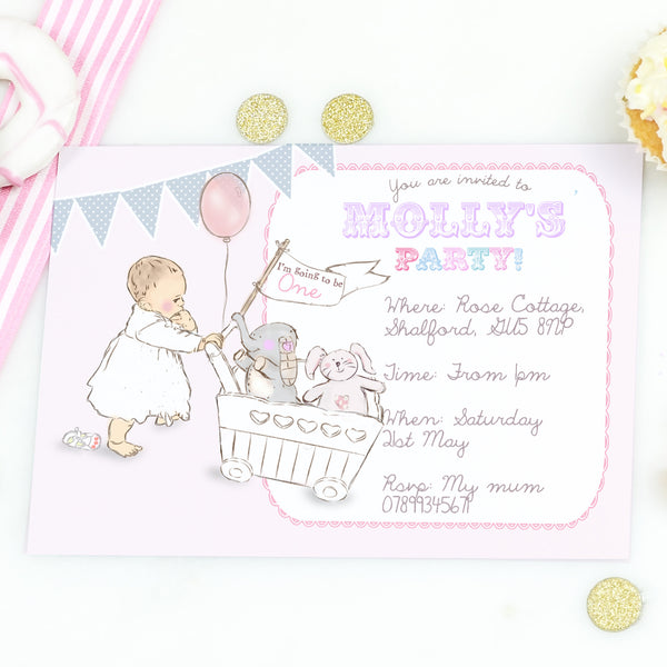 Personalised Girls First Birthday Party Invitations 'Toys' - Lily Summery
