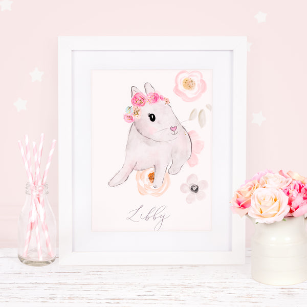 "Personalised Bunny art print ""Sweet Bunny"" - Lily Summery"