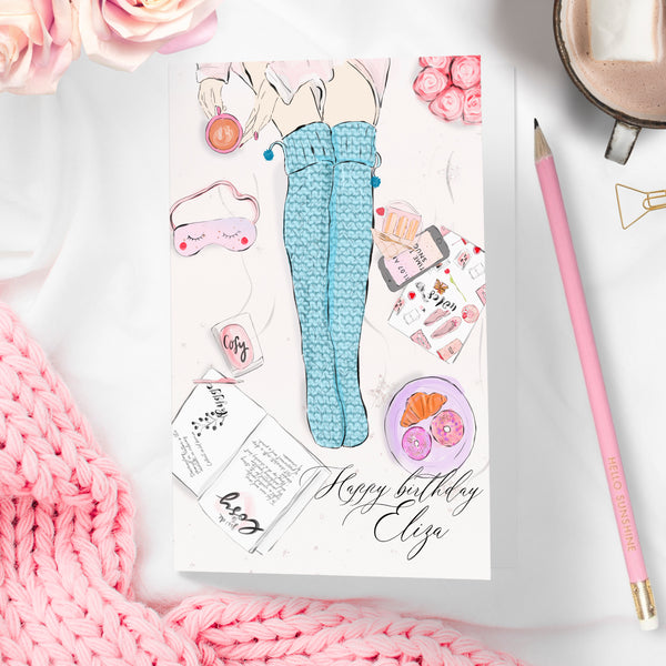 "Personalised Fashion flatlay card Birthday day card  ""Cosy socks"" - Lily Summery"