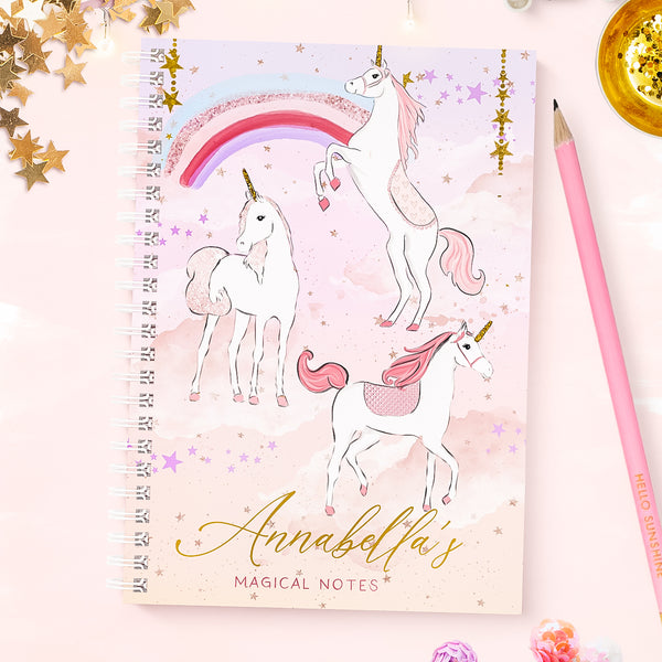 "Children's Unicorn Personalised wirebound  notebook  ""Dream Unicorn "" - Lily Summery"