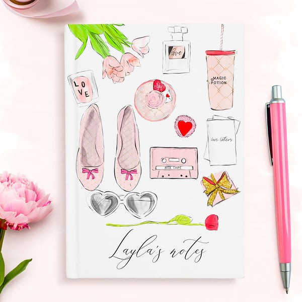 "Personalised hardback fashion notebook ""Flat lay love"" - Lily Summery"