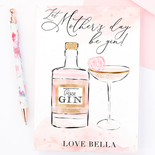 "Personalised Mother's day Gin card ""Rose Gin"" - Lily Summery"