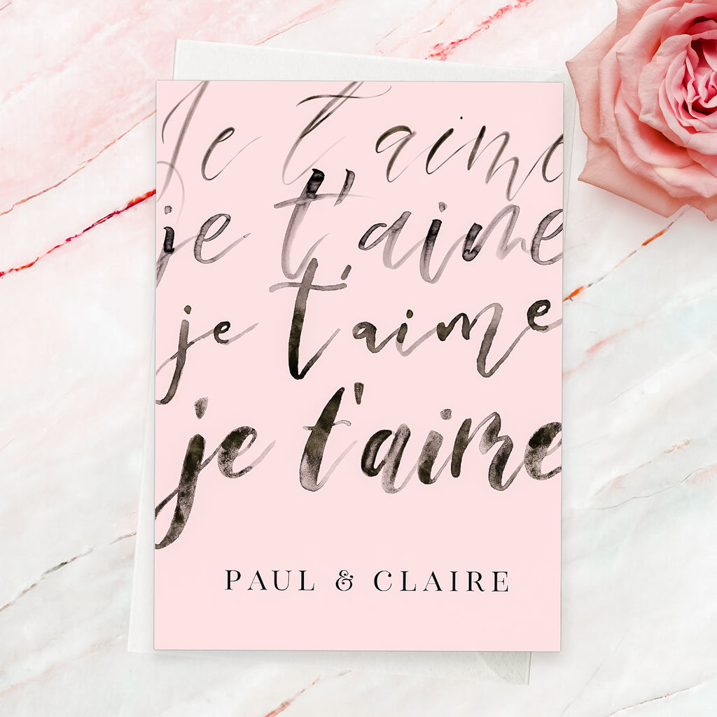 Je t'aime modern calligraphy card - Lily Summery
