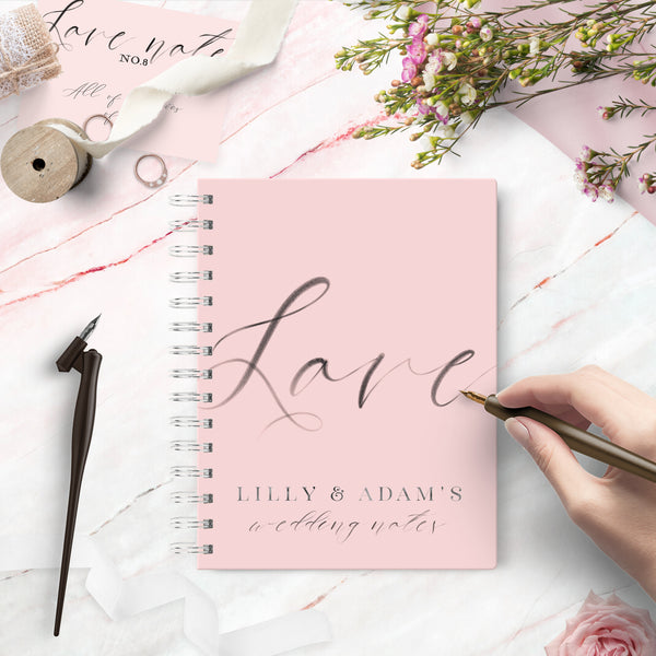 "Personalised  wedding notebook engagement gift ""Calligraphy love"" - Lily Summery"