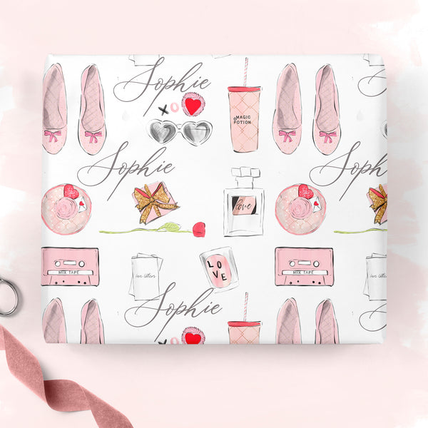 "Personalised Valentine's Wrapping paper ""Flat lay love"" - Lily Summery"