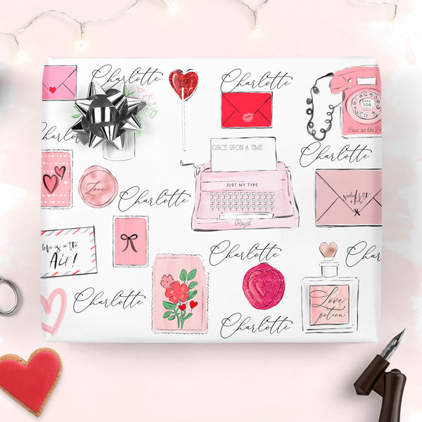 "Personalised Valentine's Wrapping paper ""Love letter"" - Lily Summery"