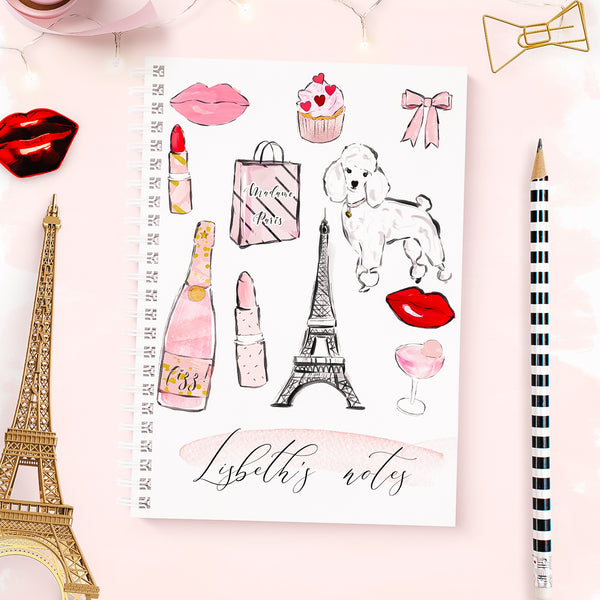 "Personalised wirebound  fashion notebook  ""Paris love "" - Lily Summery"