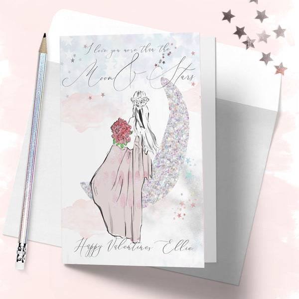 "Personalised Valentines day card  ""Moon & Stars"" - Lily Summery"