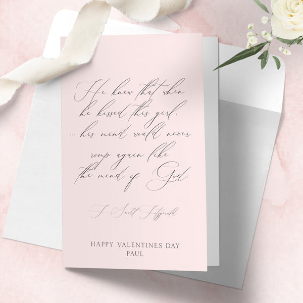 Personalised Valentines day card F. Scott Fitzgerald, The Great Gatsby, Mind of God quote - Lily Summery
