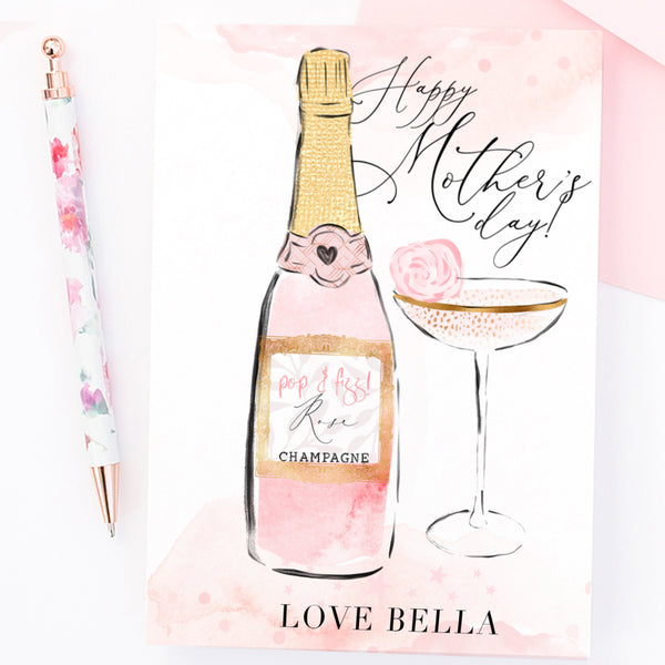 "Mother's day card ""Pink Champagne"" - Lily Summery"