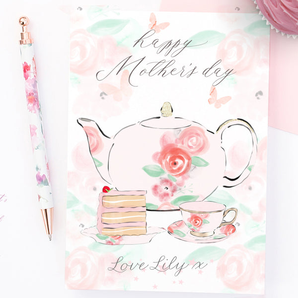 "Personalised First Mother's day card ""Tea and cake"" - Lily Summery"