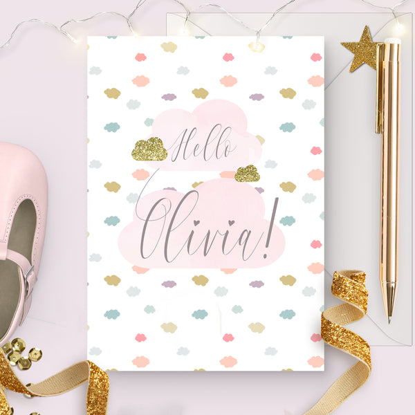 "Personalised New baby girl  card ""Watercolour cloud"" - Lily Summery"
