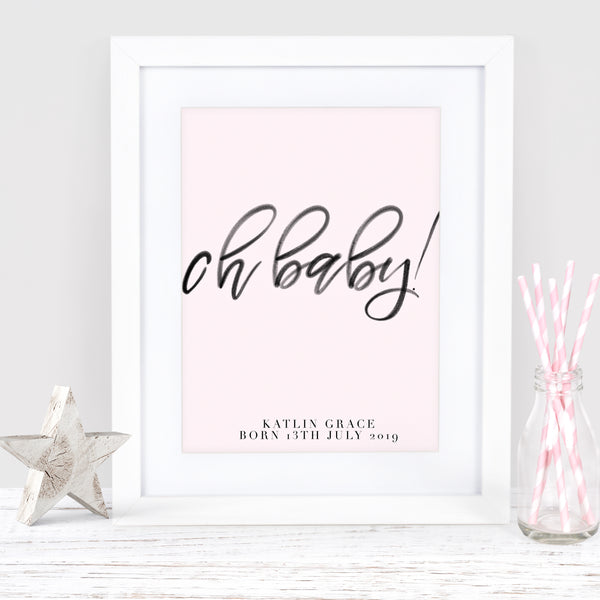 "Pink Nursery new baby art print ""Oh baby!"" - Lily Summery"