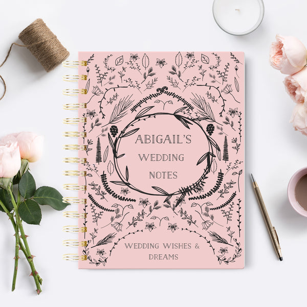 "Personalised wedding notebook ""Naive blush"" - Lily Summery"