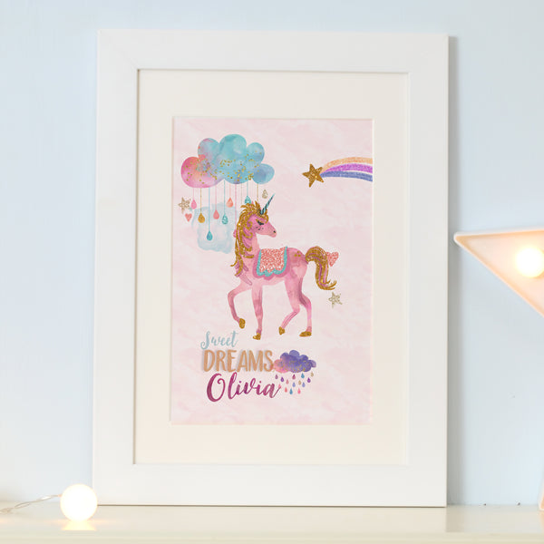 "Personalised Unicorn art prints ""Sweet dreams""- AS seen on the  Saccone- Joly Youtube channel - Lily Summery"