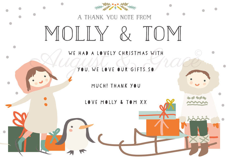 Children's Christmas Thank You Note Cards - Lily Summery