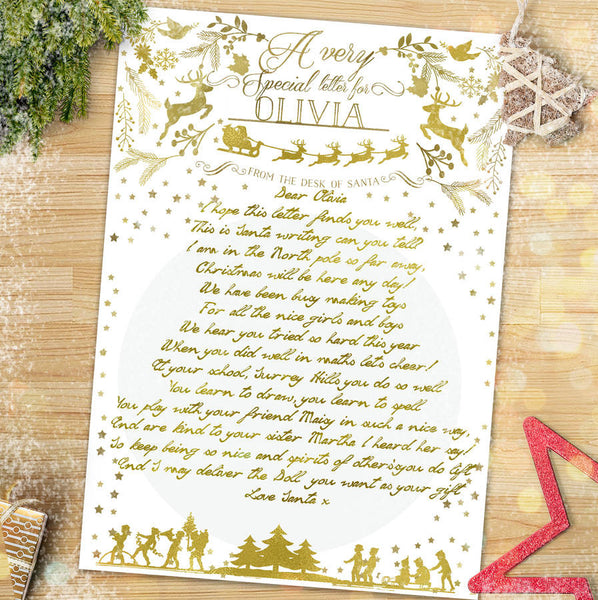 Personalised Gold Letter From Santa - Lily Summery