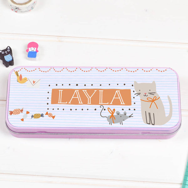 Personalised Tin Pencil Case Sweet Cat - Lily Summery