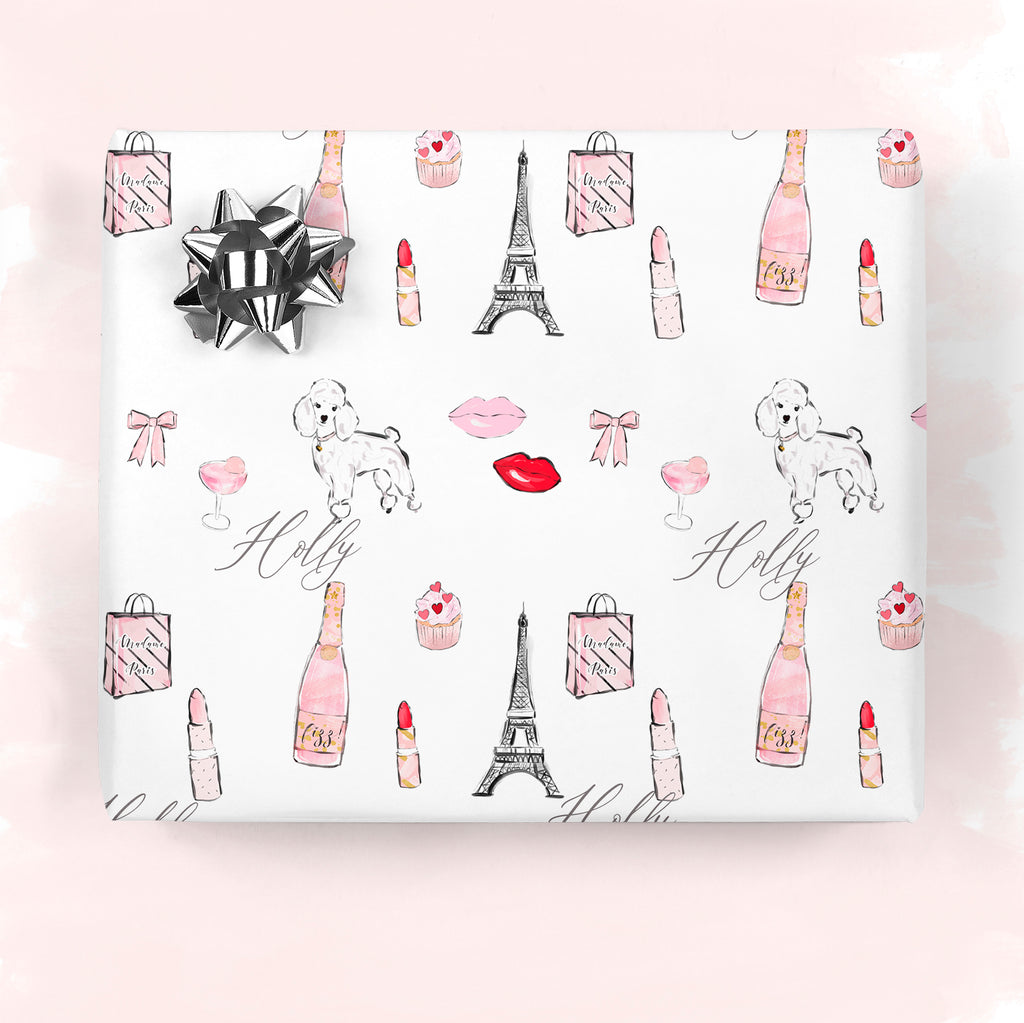 "Personalised Valentine's Wrapping paper ""Paris love"" - Lily Summery"