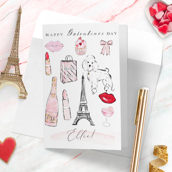 "Personalised Paris  card Valentines day card  ""Paris love"" - Lily Summery"