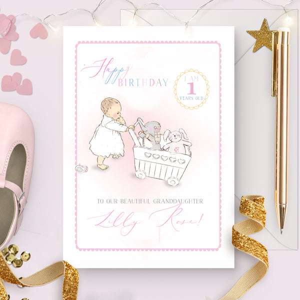 "Girl's first Birthday Card ""Pushing my toys"" - Lily Summery"