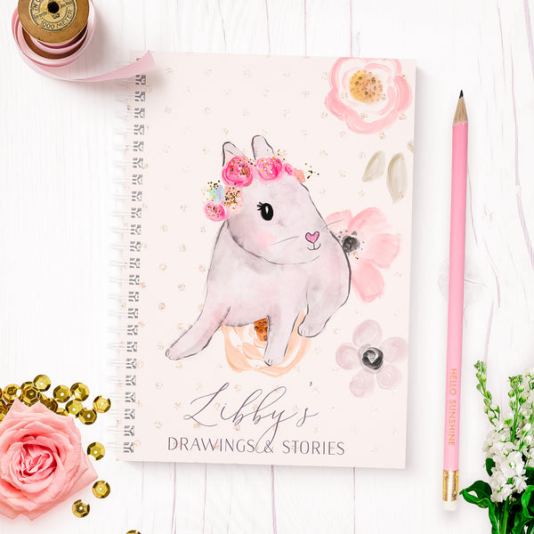 "Personalised Bunny notebook for children  ""Pretty Bunny "" - Lily Summery"