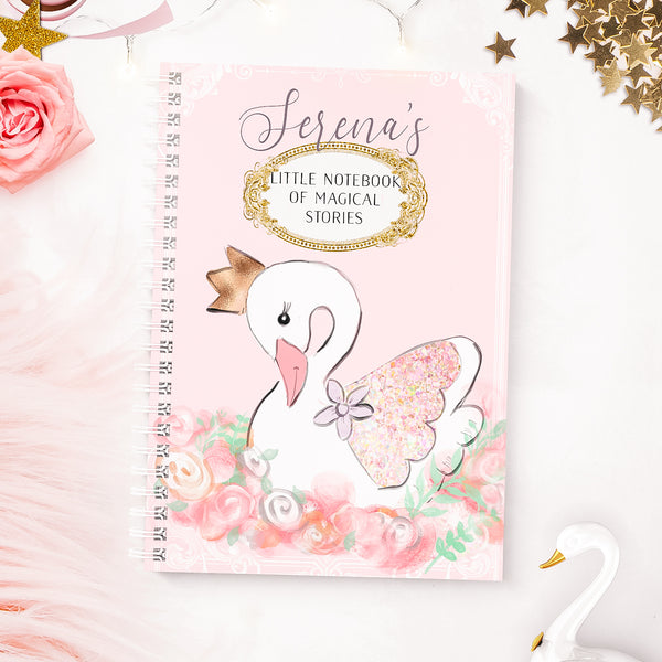 "Personalised Swan  notebook  ""Pretty swan "" - Lily Summery"