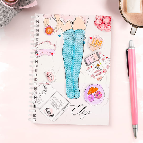 "Personalised wire bound  fashion notebook ""Cosy socks"" - Lily Summery"
