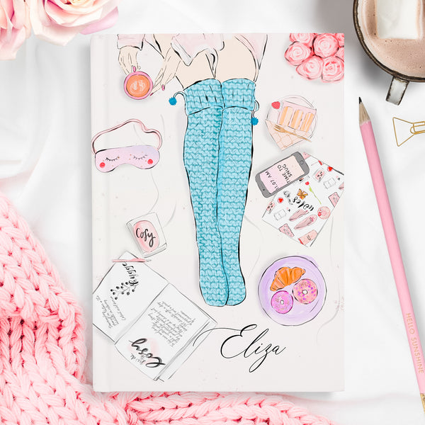 "Personalised hardback fashion notebook ""Cosy socks"" - Lily Summery"