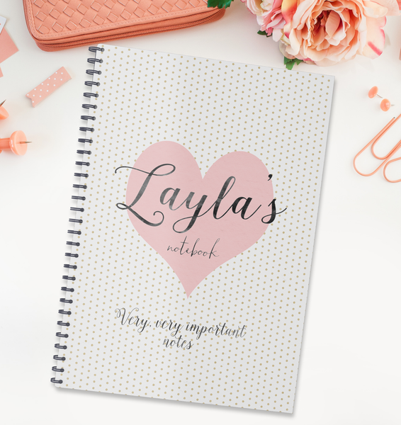 Personalised Girl's Notebook 'Gold Dot Heart' - Lily Summery
