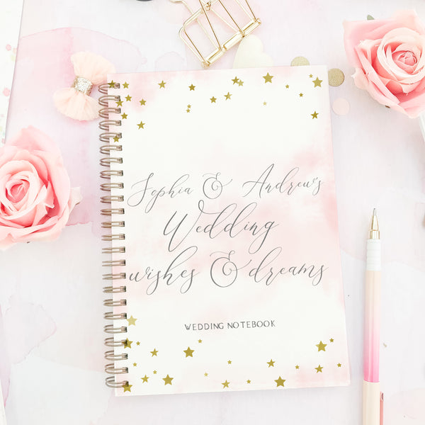 "Personalised Foiled wedding notebook engagement gift ""Star dreams"" - Lily Summery"