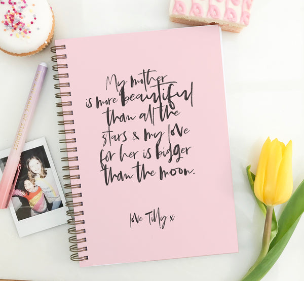 "Mother's day  notebook ""Calligraphy"" - Lily Summery"
