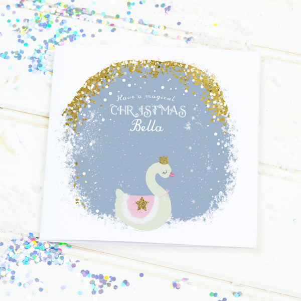 "Personalised Christmas card for girls ""Magical Swan"" - Lily Summery"
