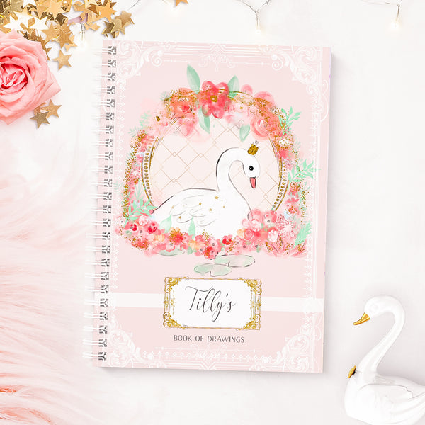 "Children's Swan Personalised wirebound  notebook  ""Swan song "" - Lily Summery"