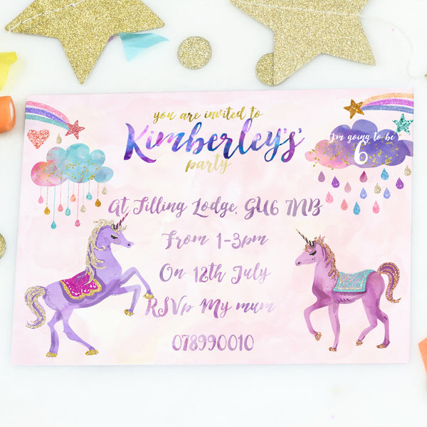 Personalised Unicorn Girls Birthday Party Invitations 'Unicorn' - Lily Summery