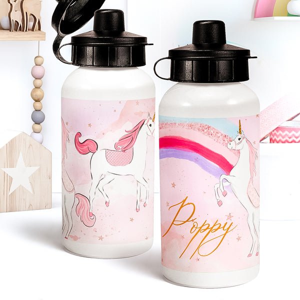 "Personalised Unicorn water bottle ""Dream Unicorns"" - Lily Summery"