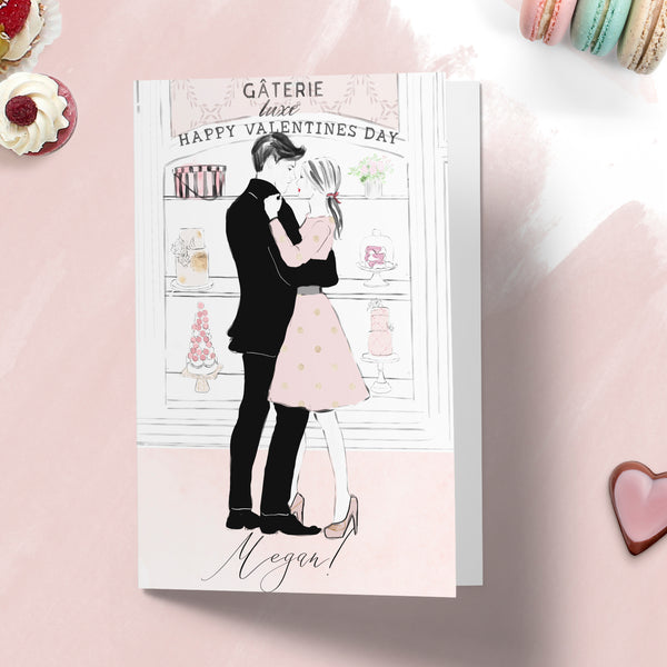 "Personalised Valentines day card ""Paris Bakery"" - Lily Summery"