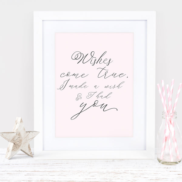 "Pink Nursery art print ""Wishes come true"" - Lily Summery"