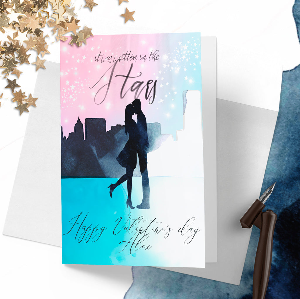 "Personalised Valentines day card ""Written in the stars"" - Lily Summery"